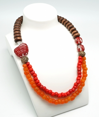 Topographies, arancia rosso necklace