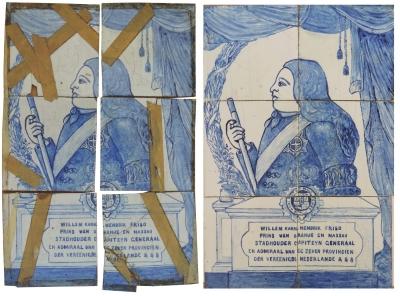 Carreaux en faïence peints dans le style des azulejos, portrait de Guillaume IV d'Orange-Nassau, Delft, XVIIIesiècle, avant et après intervention.