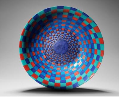 30cm diameter slip cast moulded bowl, exposed coloured underglazes and coloured matt glazes, inside and out