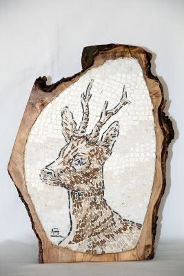 Dario Sogmaister - testa di capriolo nel legno di ulivo