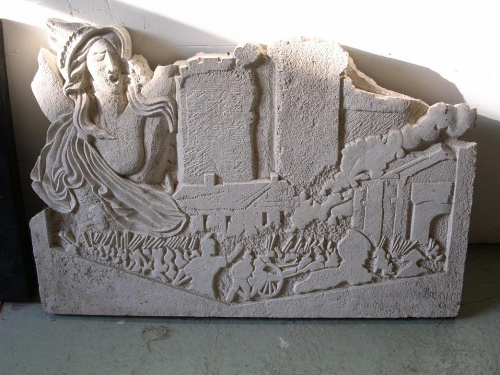 BAS-RELIEF en pierre calcaire sur le Bicentenaire de la Révolution plaque de 80cm x 60cm