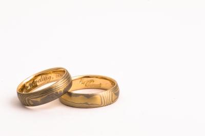 Tijmen Sarneel Edelsmid - Wedding rings mokume yellowgold whitegold