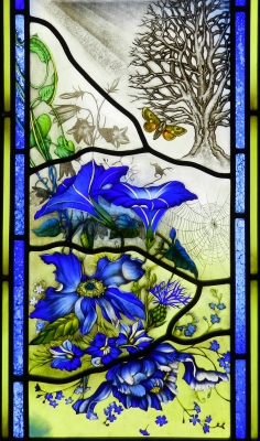 Fabrizia bazzo church commemorative window detail painted acid etched leaded antique glass