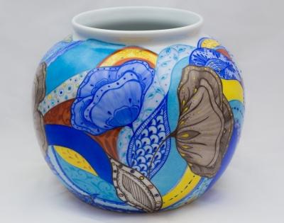 Vase boule pavot bleu porcelaine