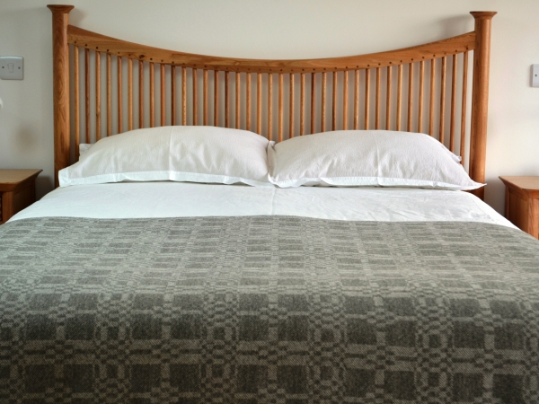 Madeleine jude coverlet throw heron handwoven in lambswool