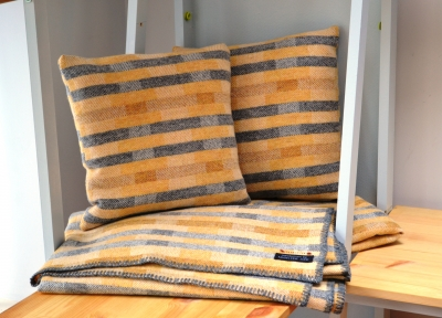 Madeleine jude handwoven lambswool lineal throw and cushion