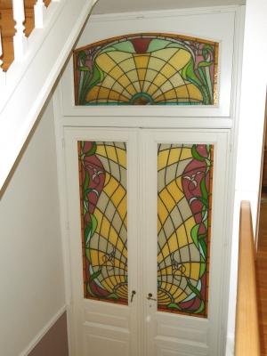 Imposte ancienne art nouveau portes recreees -   - Magali Jongen Atelier Versicolore