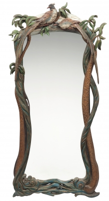 Tropical mirror 2 carved wood polychrome finish - Julian Stanley