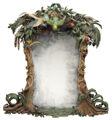 Tropical mirror carved wood and polychrome finish - Julian Stanley