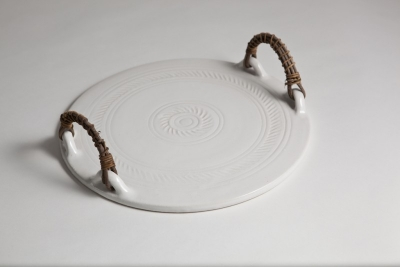 Tray with akebia vine handles