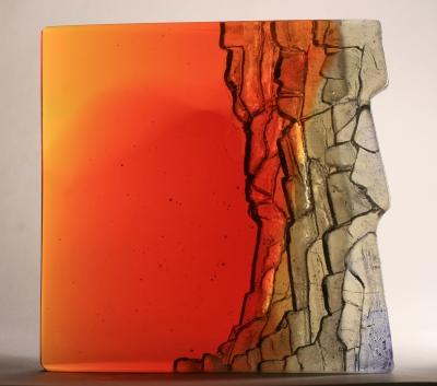 Crispian Heath - crh 240 cast glass wedge form 16 x 15 x 6cm