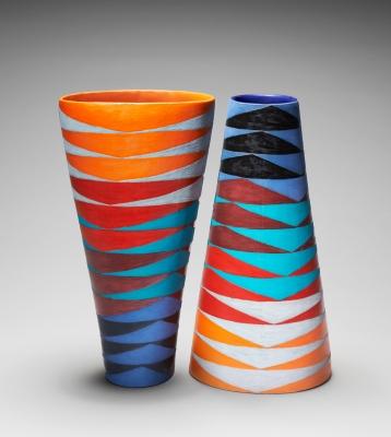 Slip cast moulded bowl, exposed underglazes and matt glazes