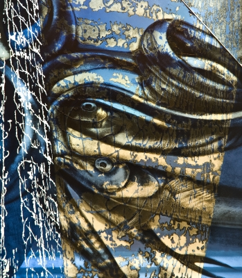 Fabrizia bazzo inside out detail 2 self standing glass panel painted acid etched laser engraved and laminated