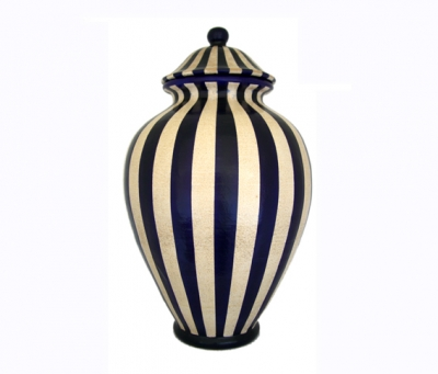 Ceramiche giotto orcio con cop dec righe blu