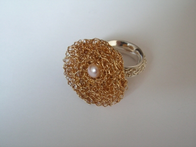 Rings gilded silver pearl design and execution bogumila adamska