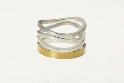 M gloss ring welle silver and 22ct goldplated