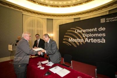 Francisco Barroso, Entrega del diploma de Maestro Artesano en la Generalidad de Cataluña