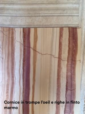 FABS - Cornice in trompe l'oeil e righe in finto marmo
