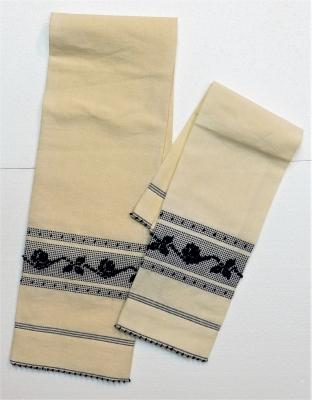 02 asciugamani in misto lino roselline tela in lino ecru disegno in cotone blu - Artigiantessile di Spiga Davide