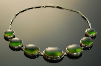 Glass and silver necklace jenia gorfunkel