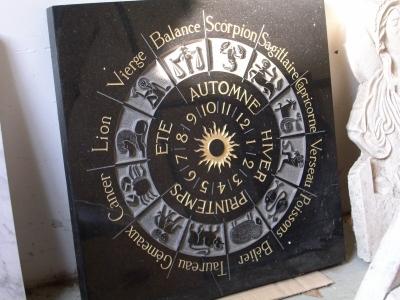 COCHERY -  gravure signes zodiacaux sur granit de 60x60 cm