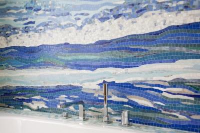 Duperron, création murale, salle de bain, mer