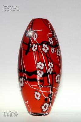 Fleur de japon rouge haut - Verre l'Essentiel - Gwendoline BONNET