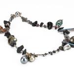 Maud traon the lucky peral necklace baroque pearls labradorite hematite jet quartz marquise cut cz stones tourmaline resin glitter silver