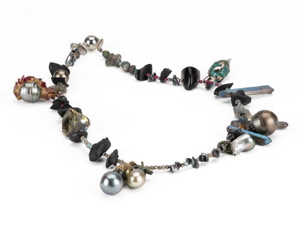 Maud traon the lucky peral necklace baroque pearls labradorite hematite jet quartz marquise cut cz stones tourmaline resin glitter silver