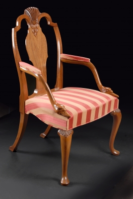 Walnut chair with swan head arms - Julian Stanley