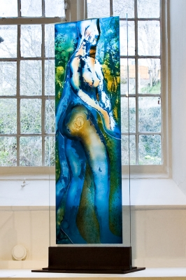 Fabrizia bazzo dancing angel self standing glass panel painted acid etched and laminated