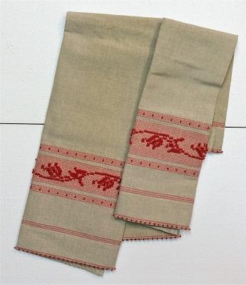 03 asciugamani in misto lino tulipano tela in lino grezzo disegno in cotone rosso indiano - Artigiantessile di Spiga Davide