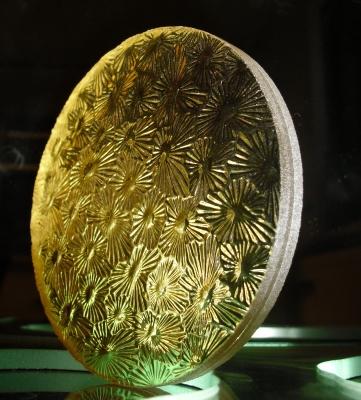 Verre marguerite jaune feuillete resine - Etienne Baeyens