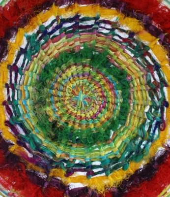 Detail dorset button worked in sari silk ribbon 30cm wide