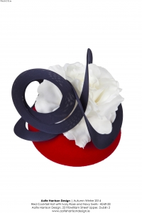 Aoife harrison red cocktail hat with ivory rose high res