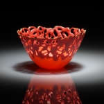 Antonella cimatti lace red teabowl front view