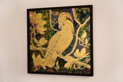 Cockatoo and magnolia verre eglomise by anastasya martynova framed 1200