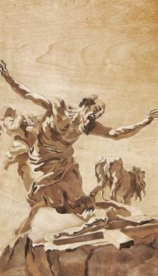 Marquetry interpretation of old masters drawings berrnini st jerome on his knees before a c - Dušan Rakić