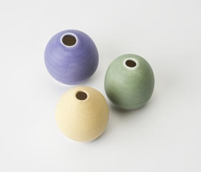 Yellow mauve green vases - Sarah Martin