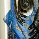 Fabrizia bazzo inside out detail self standing glass panel painted acid etched laser engraved and laminated