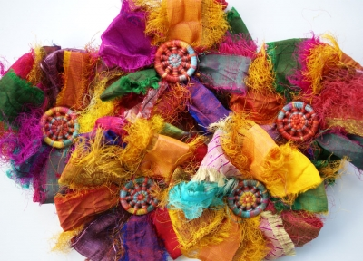 Selection of dorset button and sari silk ribbon brooches