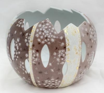Photophore porcelaine atelier porcelaine feuille d or