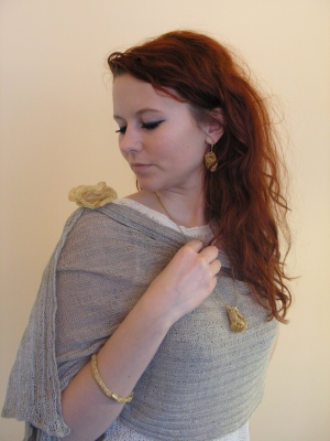 Shawl blouse natural linen jewellery gilded silver design and execution bogumi a adamska