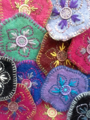 Selection od dorset buttons and felt brooches