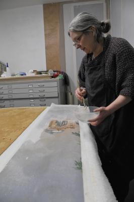 Refixage d un papier peint zuber a la gelatine