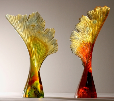 Crispian Heath - seeds with wings hieght 44cm cast glass