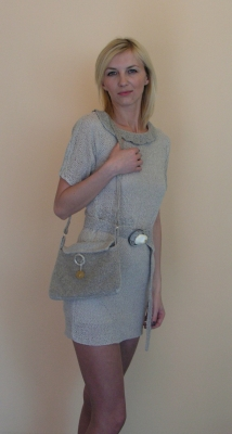 Dress handbag natural linen design and execution bogumila adamska