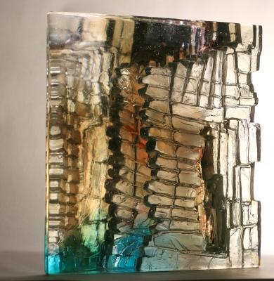 Crispian Heath - crh 238 27 x 25 x 12cm cast glass wedge form