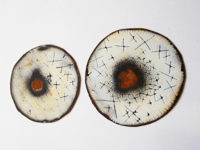 4 a denison enamelled steel brooches rusted