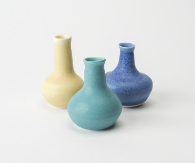 Yellow turquoise blue bottles - Sarah Martin